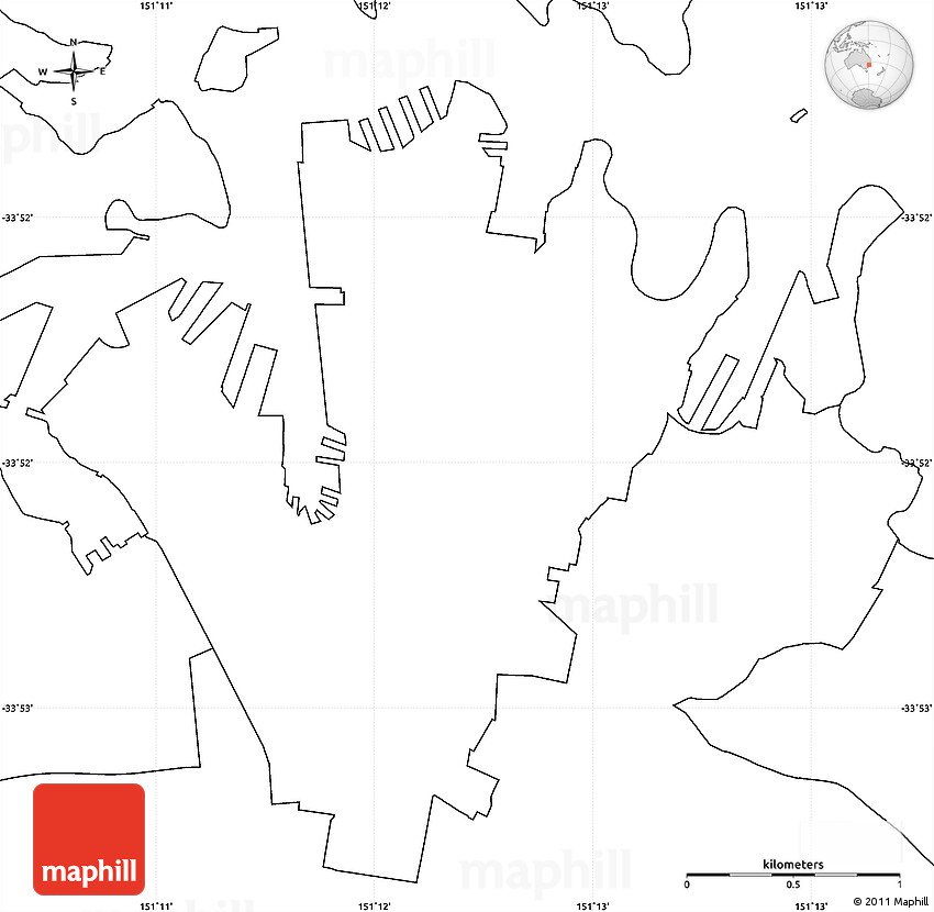 Map Of Australia Unlabelled.Blank Simple Map Of Sydney