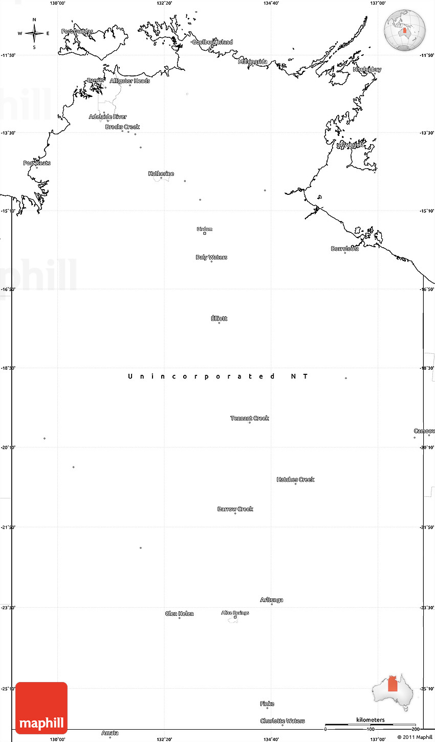 Map Northern Australia.Blank Simple Map Of Northern Territory