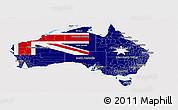 Flag Panoramic Map of Australia, flag centered