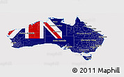 Flag Panoramic Map of Australia, flag aligned to the middle