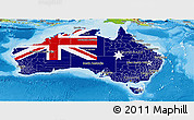 Flag Panoramic Map of Australia, physical outside