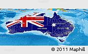 Flag Panoramic Map of Australia, political outside