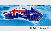 Flag Panoramic Map of Australia, political shades outside