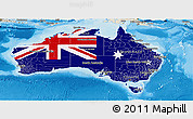 Flag Panoramic Map of Australia, shaded relief outside