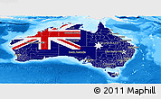 Flag Panoramic Map of Australia, single color outside, bathymetry sea
