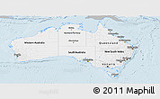 Gray Panoramic Map of Australia, single color outside