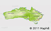 Physical Panoramic Map of Australia, cropped outside