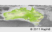 Physical Panoramic Map of Australia, desaturated