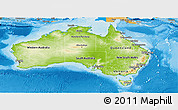 Physical Panoramic Map of Australia, political shades outside, shaded relief sea