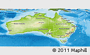 Physical Panoramic Map of Australia, satellite outside, shaded relief sea