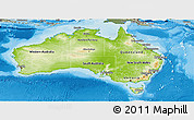 Physical Panoramic Map of Australia, semi-desaturated, land only