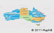 Political Panoramic Map of Australia, cropped outside