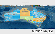 Political Panoramic Map of Australia, darken