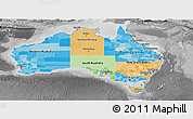 Political Panoramic Map of Australia, desaturated