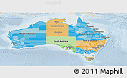 Political Panoramic Map of Australia, lighten