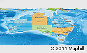 Political Panoramic Map of Australia, physical outside