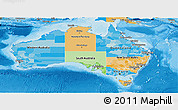 Political Panoramic Map of Australia, political shades outside