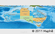 Political Panoramic Map of Australia, satellite outside, bathymetry sea
