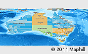 Political Panoramic Map of Australia, semi-desaturated, land only