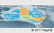 Political Panoramic Map of Australia, semi-desaturated