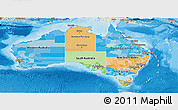 Political Panoramic Map of Australia, shaded relief outside, bathymetry sea