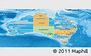 Political Panoramic Map of Australia, single color outside