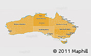 Political Shades Panoramic Map of Australia, cropped outside