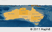 Political Shades Panoramic Map of Australia, darken