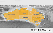 Political Shades Panoramic Map of Australia, desaturated