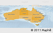 Political Shades Panoramic Map of Australia, lighten