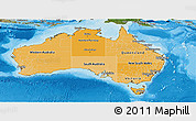 Political Shades Panoramic Map of Australia, satellite outside, bathymetry sea