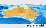Political Shades Panoramic Map of Australia, semi-desaturated, land only