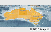 Political Shades Panoramic Map of Australia, semi-desaturated