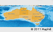 Political Shades Panoramic Map of Australia, shaded relief outside, bathymetry sea