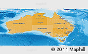 Political Shades Panoramic Map of Australia, single color outside