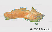 Satellite Panoramic Map of Australia, cropped outside
