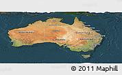 Satellite Panoramic Map of Australia, darken