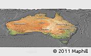 Satellite Panoramic Map of Australia, desaturated