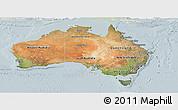Satellite Panoramic Map of Australia, lighten