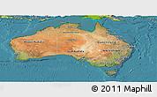 Satellite Panoramic Map of Australia, physical outside, satellite sea