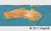 Satellite Panoramic Map of Australia, political shades outside, satellite sea