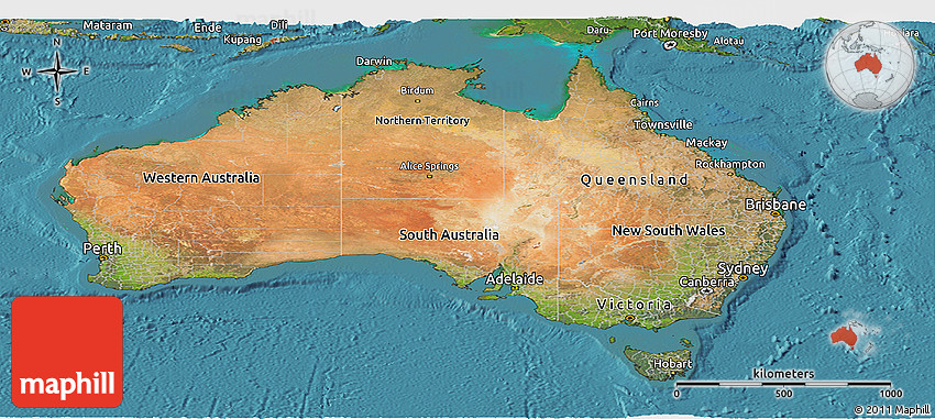 Satellite Panoramic Map of Australia