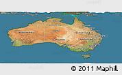 Satellite Panoramic Map of Australia, semi-desaturated, land only