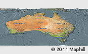 Satellite Panoramic Map of Australia, semi-desaturated