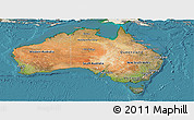 Satellite Panoramic Map of Australia, shaded relief outside, satellite sea