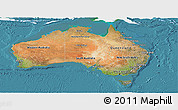 Satellite Panoramic Map of Australia, single color outside