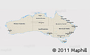 Shaded Relief Panoramic Map of Australia, cropped outside