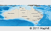 Shaded Relief Panoramic Map of Australia, darken, land only