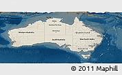 Shaded Relief Panoramic Map of Australia, darken