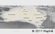 Shaded Relief Panoramic Map of Australia, desaturated